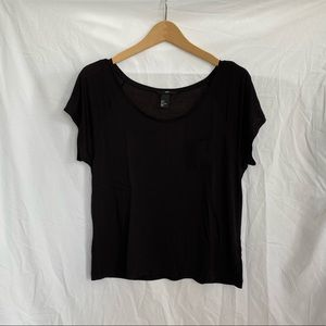 H&M Black Viscose Relaxed Fit Scoop Neck T-Shirt